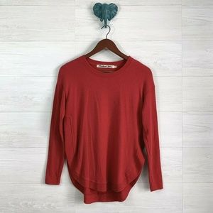 Michael Stars Tomato Red Plush Curve Hem Sweater